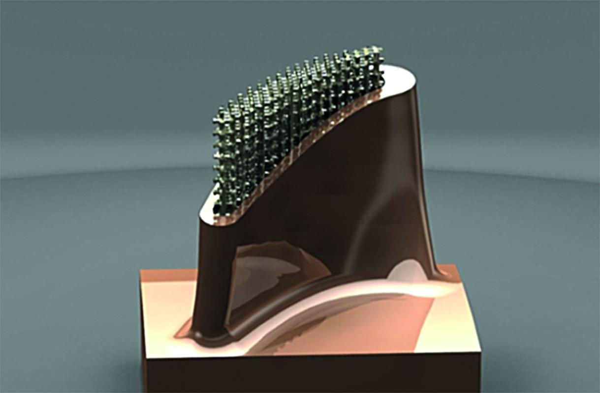 Nutnost používání simulací se zvyšuje s rostoucími možnostmi navrhovat výrobky dříve nezvyklých tvarů a funkcí, které umožňuje využití aditivní a hybridní výroby. Příkladem je vyobrazená část turbínové lopatky s vnitřní nosnou mřížkou.