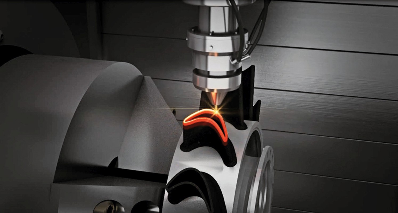 Aditivní technologii ve stroji DMG MORI Lasertec  65 3D prezentuje navařovací hlava.